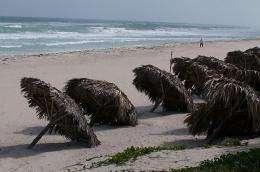 Beach umbrellas are seen in the sand in Cuba