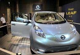 Japanese auto company Nissan Motor displays the company's Leaf electric vehicle