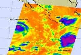 NASA's Aqua and Terra satellites view Tropical Storms Blas and Celia