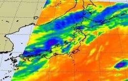NASA's Aqua Satellite sees Dianmu enter the Sea of Japan