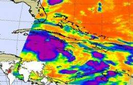 NASA sees colder cloud-top temps in new Tropical Depression 16, warnings up