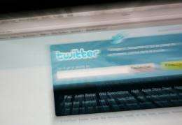 The homepage of the microblogging website Twitter