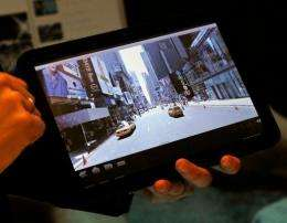 The Motorola Xoom Android Honeycomb tablet is displayed during a press event