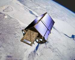 Artist's impresssion of the CryoSat satellite in orbit