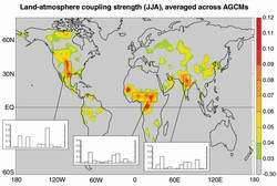 Changes in soil moisture from July 1 through 15, 2002, derived from a land surface computer model. Soil moisture is important fo