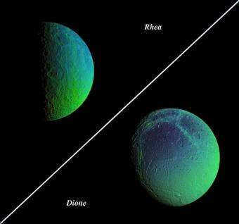 False-color views of Saturn's cratered, icy moons, Rhea and Dione. Image credit: NASA/JPL/Space Science Institute