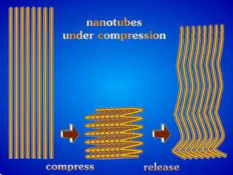 Illustration of a nanotube array compressed to folded springs and then rebounding