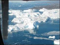 Icebergs floating near the Ilulissat glacier