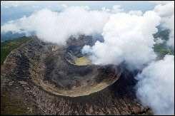 Smoke rises from the Ilamatepec volcano