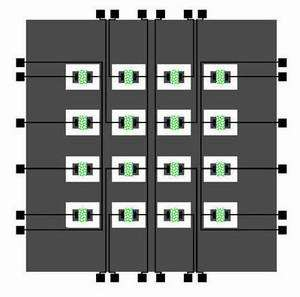 Schematic of a fabricated  4X4 electrical biosensor array