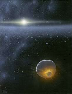 A large Kuiper Belt object growing by collisions early in the history of the solar system