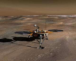 Artist's concept of Phoenix on the surface of Mars