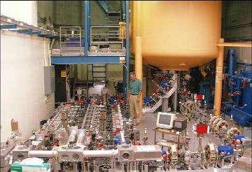 Image shows interior of the free electron laser facility at the University of California, Santa Barbara