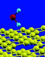 A water molecule interacts with a carbon nanostructure