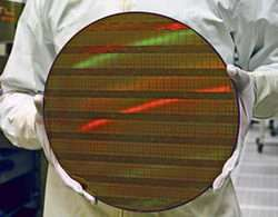 Intel 300 mm wafer with 45 nm shuttle test chips