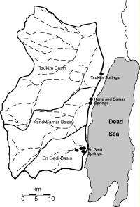 Illustration shows area covered by Judea Group Aquifer, with outlets into Dead Sea springs
