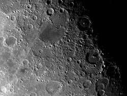 The Moon's surface is peppered with impact craters.
