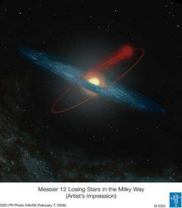 An artist's impression of the orbit of the globular cluster Messier 12 in the Milky Way