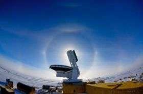 Sun Dog. South Pole Telescope achieves first light
