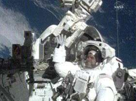 Spacewalkers Walheim and Schlegel Install New Nitrogen Tank Assembly