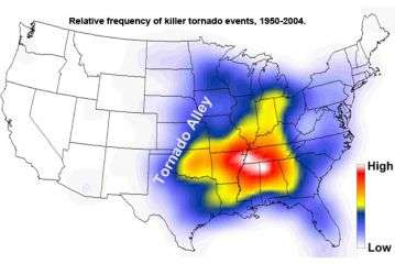 Relative frequency of killer tornado events