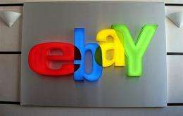 Picture taken in 2008 of the Internet auctioneer logo at Ebay-France headquarters in Paris