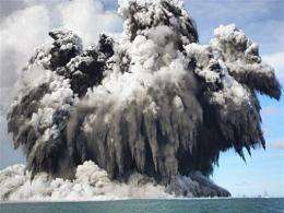 Undersea volcano eruption off the Tongatapu coast of Tonga