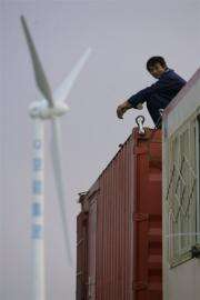 Wind turbines being constucted at a wind farm on the outskirts of Beijing