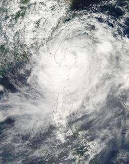 NASA satellite image shows deadly Typhoon Morakot slamming Taiwan