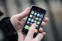 A person uses an iPhone