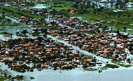 Aerial view of a flooded area in Bolivia in 2007