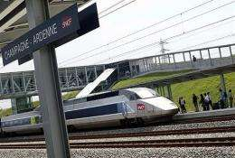 A French high-speed TGV train is pictured at the eastern French railway station of Bezannes