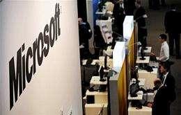A Microsoft stand at a high-tech fair