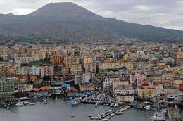 "An aerial view of Torre del Greco, one of the villages inside the ""red zone"" near Mount Vesuvius volcano"