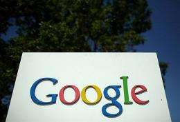 A sign is viewed outside of the Google headquarters in Mountain View, California in 2008