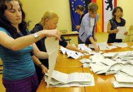 Ballot counters count the votes in Berlin