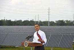 Barack Obama speaks after touring the DeSoto Next Generation Solar Energy Center