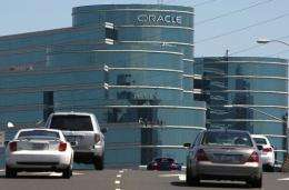 Cars drive towards the Oracle world headquarters in Redwood Shores, California