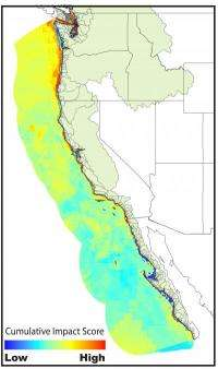High human impact ocean areas along US West Coast revealed