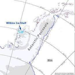 Map showing the Wilkins Ice Shelf in Antarctica