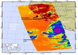 NASA infrared imagery sees landfalling Jimena, weak Kevin and pyrocumulus clouds