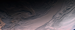Swirling clouds over the South Pacific