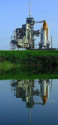 The space shuttle Discovery sitting on launch pad 39-A on, at the Kennedy Space Center in Florida