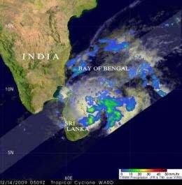 TRMM sees 05B winding down off the Sri Lanka coast
