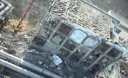 An aerial view of the fourth reactor building of TEPCO's No.1 Fukushima nuclear power plant