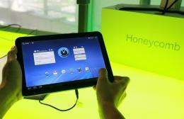 Google's Android 3.0 Honeycomb OS is demonstrated on a Motorola Xoom tablet in February