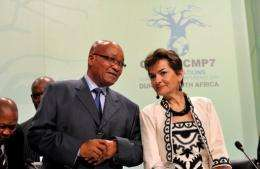 South Africa President Jacob Zuma (L)  and UN climate chief Christiana Figueres at the UN climate talks