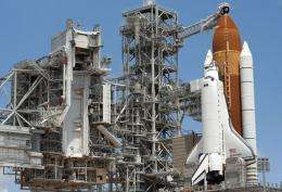 The Shuttle Endeavour sits on the launch pad at the Kennedy Space Center