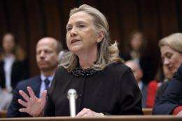 US Secretary of State Hillary Clinton at the conference in Geneva on December 7