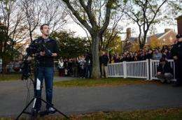 Mark Zuckerberg speaks to reporters at Harvard University in Cambridge